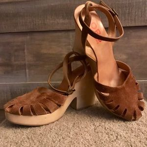 Michael Kors Suede Clog With Ankle Strap